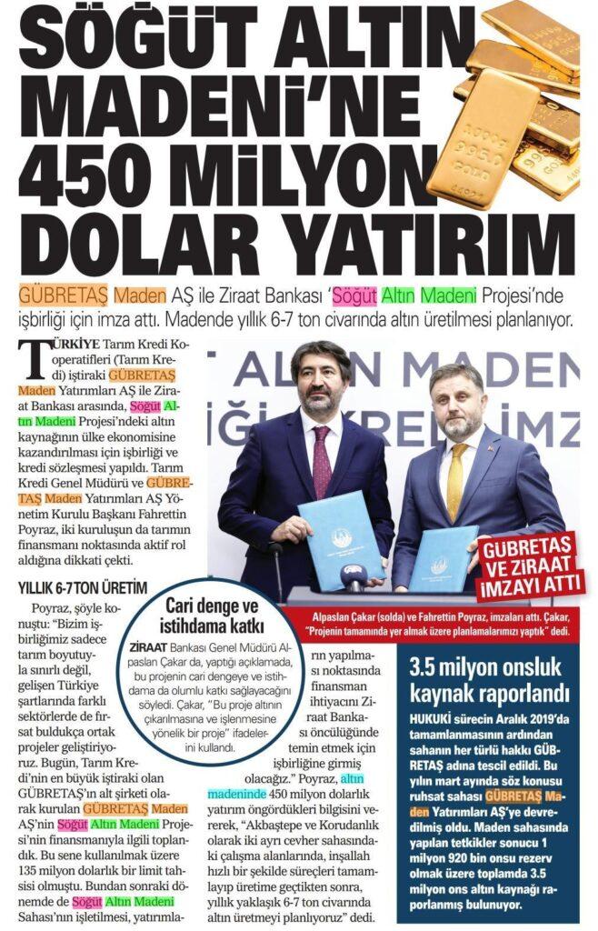 SÖĞÜT ALTIN MADENİ'NE 450 MİLYON DOLAR YATIRIM