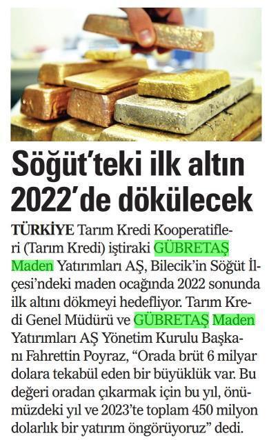 SÖĞÜT'TEKİ İLK ALTIN 2022'DE DÖKÜLECEK